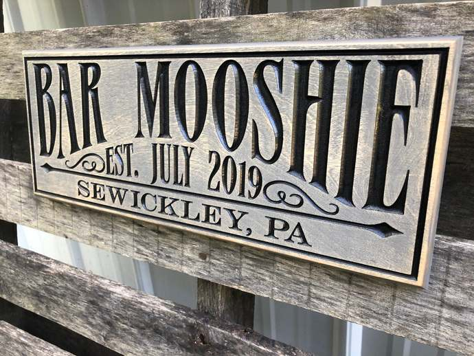 Washed Gray Bar sign - Pub sign Personalized - Wall art - Home Bar - Rustic -