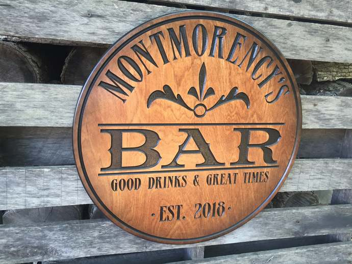 Custom carved Bar sign - Personalized - Pub sign -  Round Wood sign - Christmas