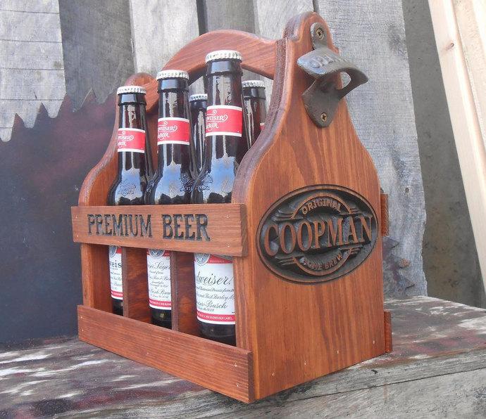 Groomsmen gift idea - Man Cave Gift - Custom wood Beer Caddy - Birthday gift for