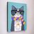 Autumn Grey Tuxedo Cat With Coffee Original Cat Folk Art Painting