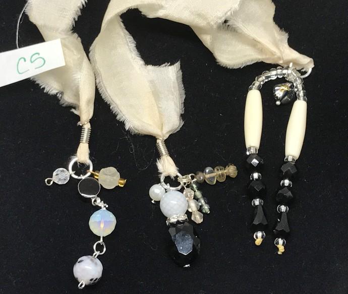 Boho Gypsy Silk Sari Ribbon Bookmark CREAM WHITE & BLACK | Book Readers Gift |