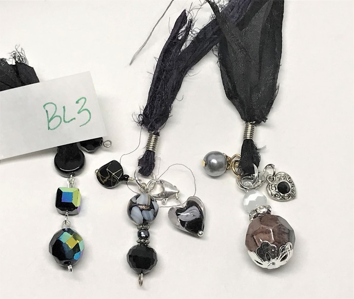Boho Gypsy Silk Sari Ribbon Bookmark BLACK BL3 | Book Readers Gift | Book Lovers