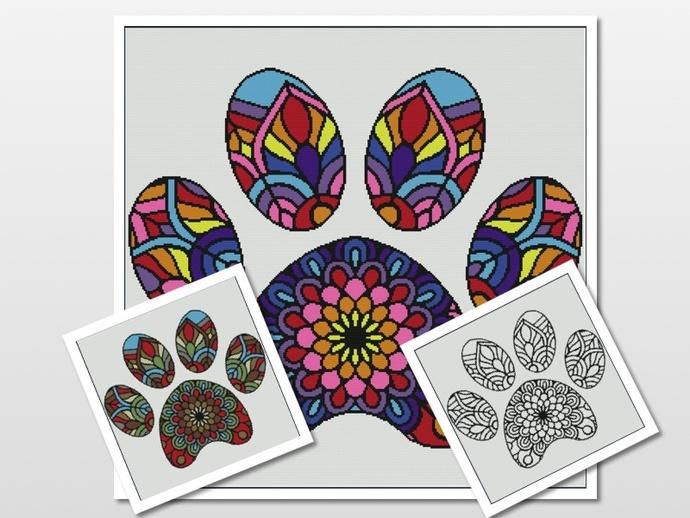 Mandala Paw Pattern Graph With Single Crochet Written