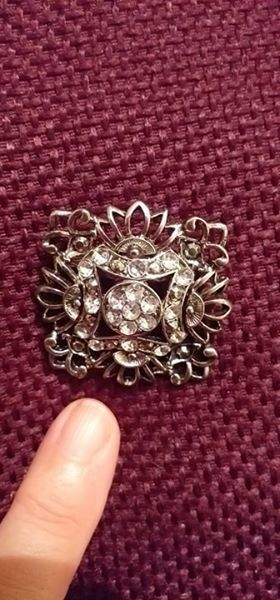 Beautiful Diamante Large Square Vintage Style Brooch