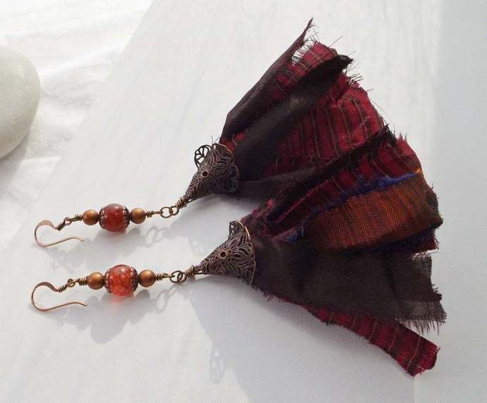 Boho Sari Silk Tassel Dangle Long Earrings with Red Agates and Glass Pearls,