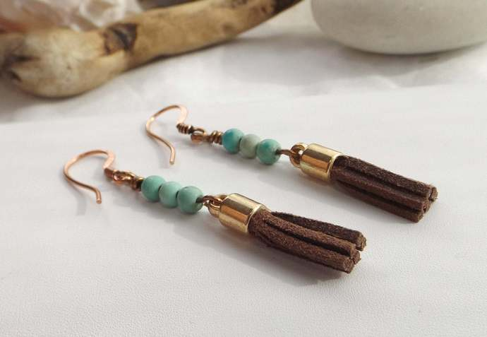 Turquoise Beaded and Brown Leather Tassel Dangle Earrings with Copper Findings,