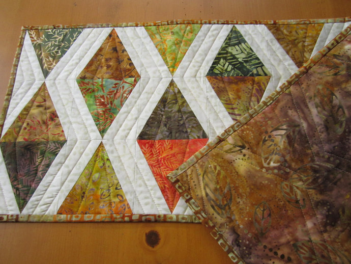 Fall Table Runner Handmade Quilted Batik Diamond Shape