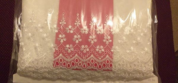 1mt x 5 inch Wide Embroidered Chiffon Trim - choose your colour