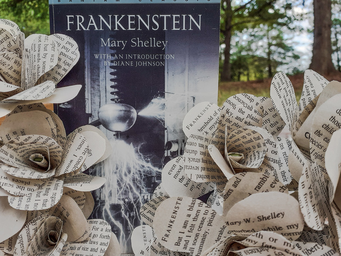 Frankenstein Book Roses, Mary Shelley's Classic Novel, Book Page Flowers,