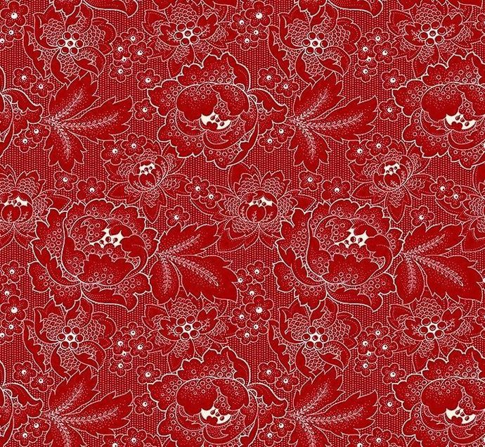 Yardage Cotton Quilt Fabric Colebrook Large Linear Floral Folk Art Blossoms Red