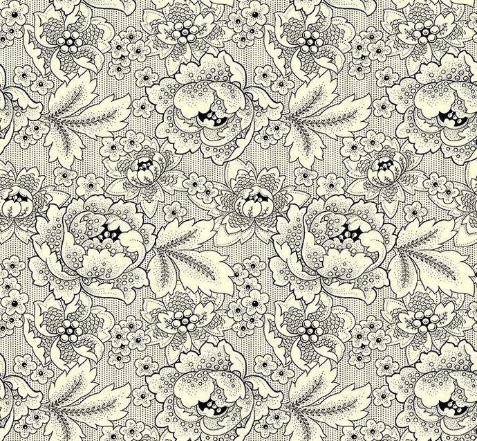 Yardage Cotton Quilt Fabric Colebrook Large Linear Floral Folk Art Blossoms