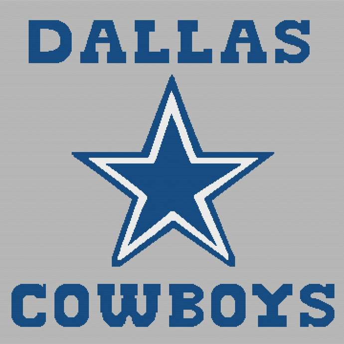 Dallas Cowboys Single Crochet Pattern Afghan PDF Graph Row by Row Color Block