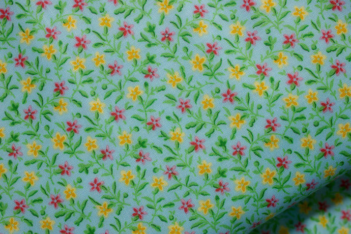 Yardage Cotton Quilt Fabric Bleecker Street Blue Quilting Treasures Floral