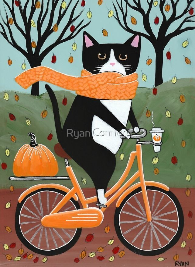 Autumn Tuxedo Cat Bicycle Ride Folk Art Giclee PRINT 8x10, 11x14 Cat Lover Gift
