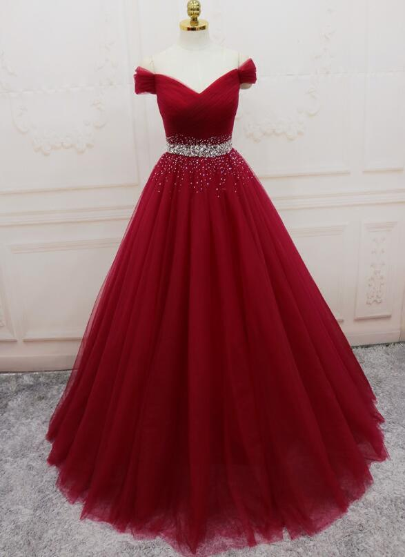Gorgeous Wine Red Tulle Prom Dress 2020, Off Shoulder Party Gown