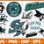 San Jose Sharks Svg Png Jpeg Dxf Eps Vector Files, cut file, digital clipart,