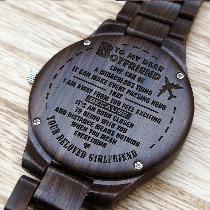 Christmas Gifts For Husband Watch - Perfect Gifts For Husband - Engraved Wooden