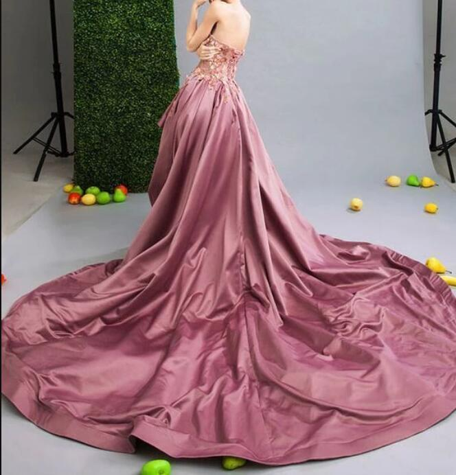 Unique lace sweetheart neck long prom dress, evening dress