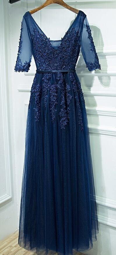Dark Blue Lace Beaded Long Prom Dresses A Line Wedding Guest Gowns Custom Made