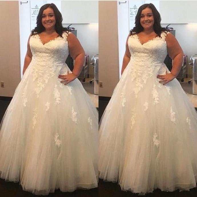 Vestido De Noiva Lace Plus Size Wedding Dresses 2019 Ball Gown Puffy Tulle V
