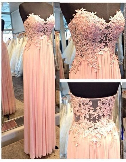 Charming Prom Dress ,Sweetheart Prom Dress,Appliques Prom Dress,See-through Prom