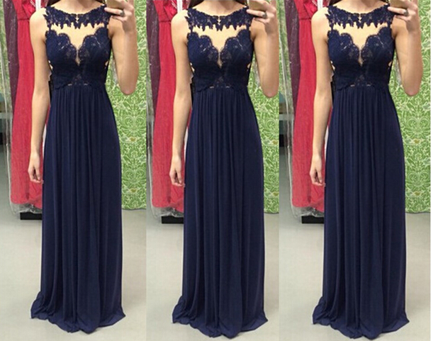 Navy Blue Prom Dresses,Navy Blue Prom Gowns,Prom Dresses 2017, Party Dresses