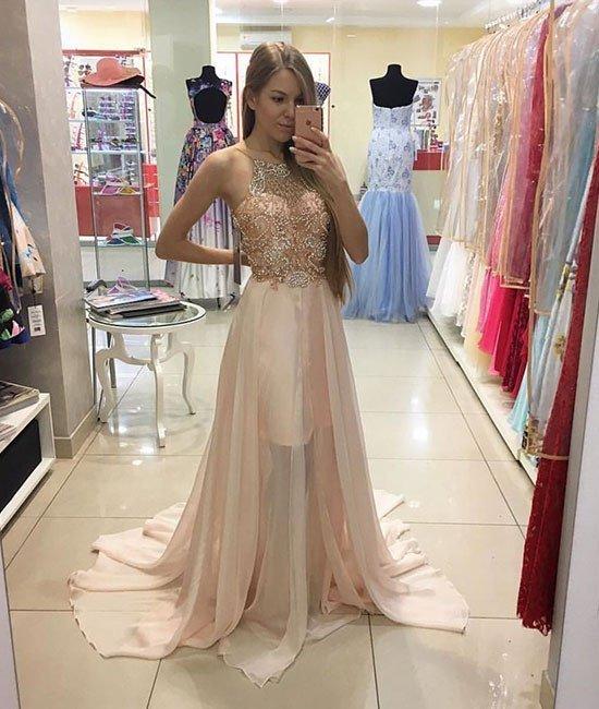 Halter Beading Prom Dress,Long Prom Dresses,Charming Prom Dresses,Evening Dress,