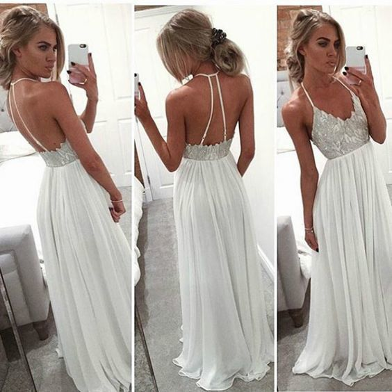 New Arrival Halter Prom Dresses,Chiffon Prom Dresses,Backless Prom Dresses