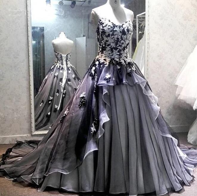 Unique Ivory and Black Tulle Sweetheart Neckline Ball Gown, Lace Up Prom Dress