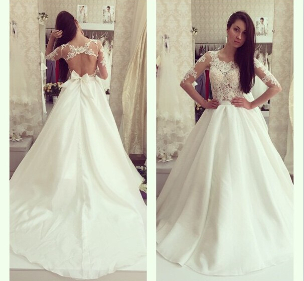 Gorgeous O-Neck Wedding Dresses,A-Line Lace Wedding Dresses,Satin and Organza