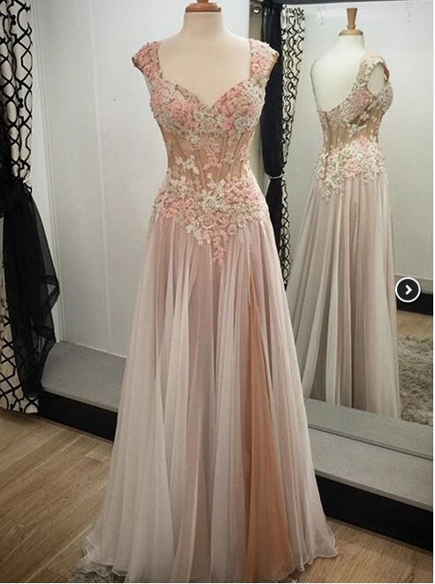 Hot Sale Appliques Prom Dress,Custom Made Prom Dress,Lace Prom Gowns,Sexy Women