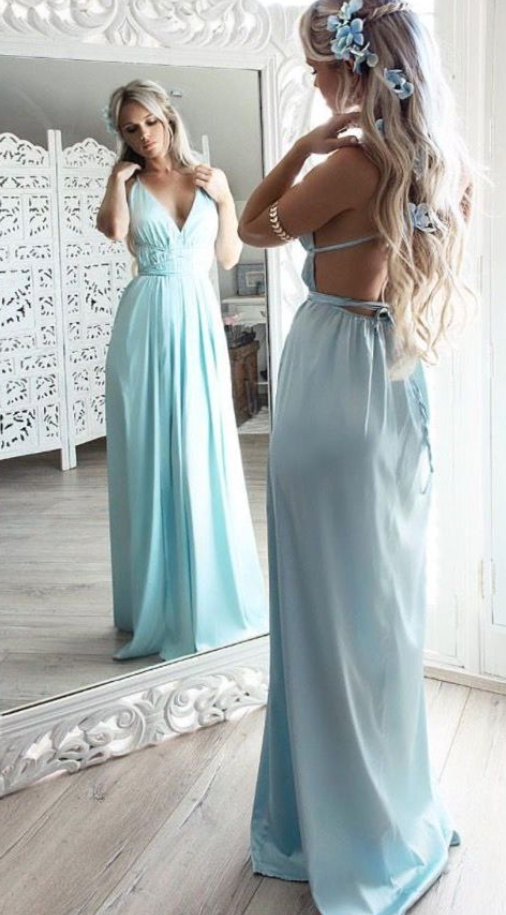 Charming Prom Dress, Sexy Prom Dresses, Chiffon Backless Evening Party Dress