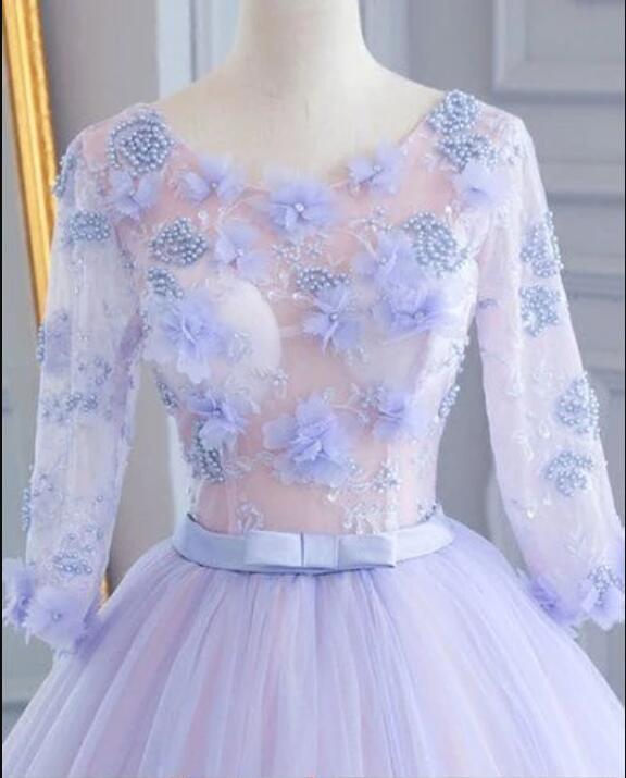 Unique lavender tulle mid sleeve long A-line lace appliqué prom dress, evening