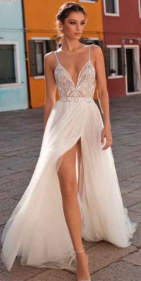 Charming Prom Dress, High Slit Prom Dresses, Sexy Spaghetti Straps Party Dress
