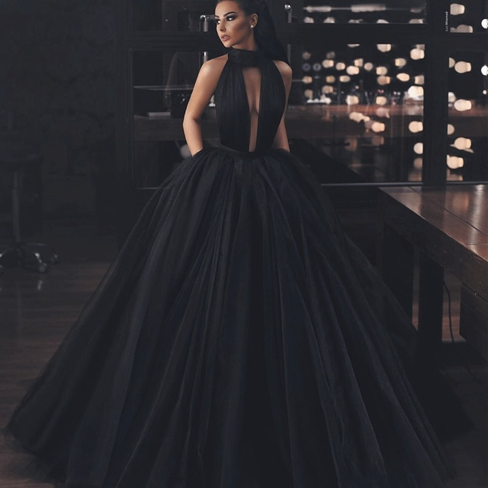 ball gown prom dress, black prom dress, cheap prom dress, elegant prom dress,