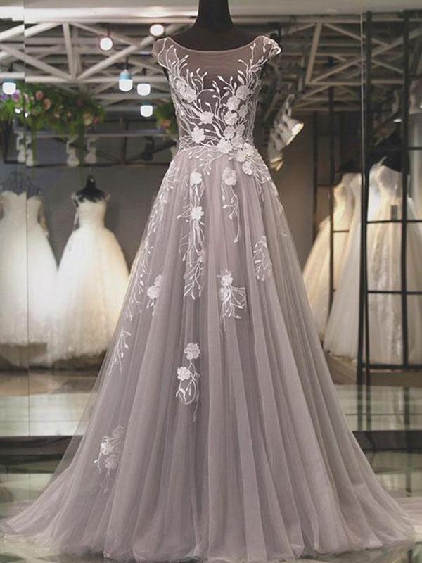 gray prom dress, lace applique prom dress, cap sleeve prom dress, modest prom