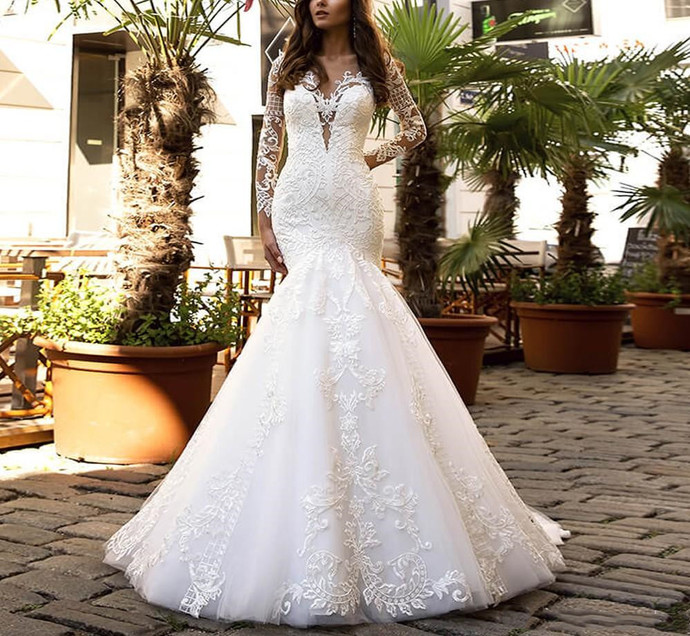Princess Lace Mermaid White Wedding Dresses Long Sleeve Court Train Sexy
