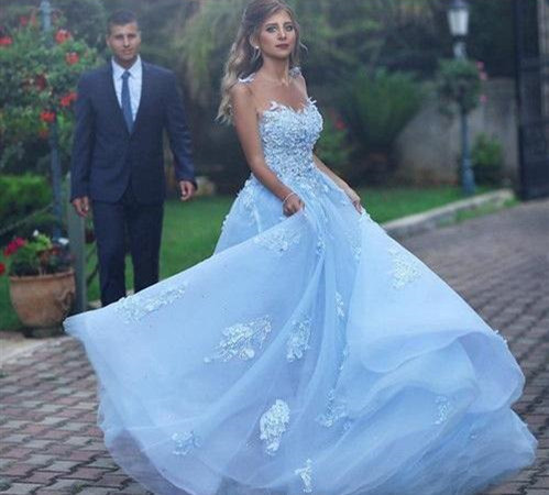 Elegant Sky Blue Long Lace Prom Dresses Sexy Open Back A Line Tulle Formal Women
