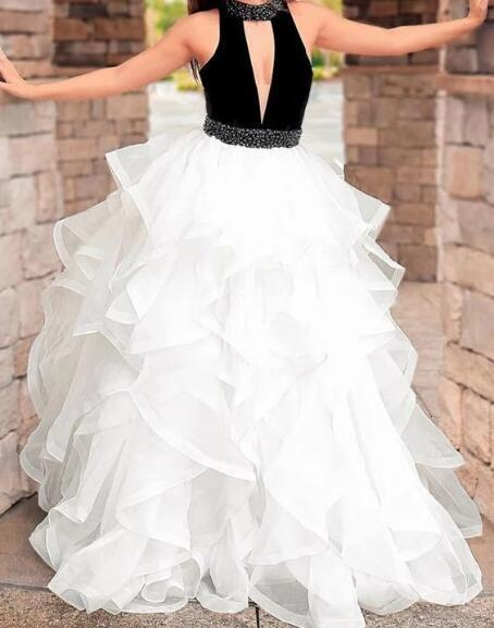 White high neck tulle long prom dress, white tulle evening dress