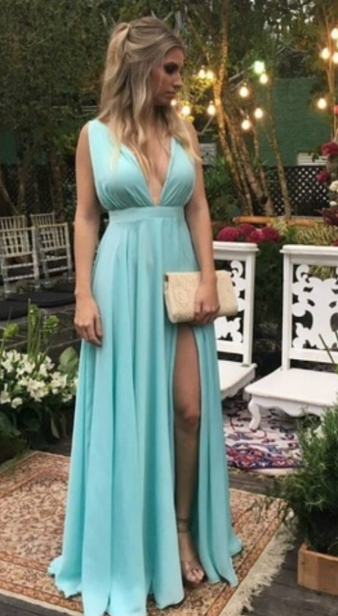 Split Slit Prom Dress, Sexy Sleeveless Long Evening Dress