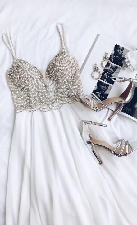 WHITE PROM DRESS, BEADED RHINESTONE MAXI DRESS,CHARMING EVENING DRESS,V-NECK