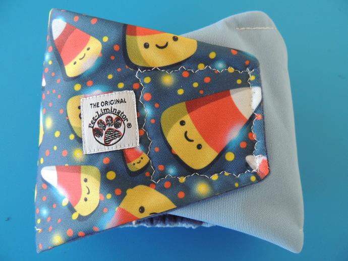 "SMALL Candy Corn Waterproof Bellyband 12-14"""