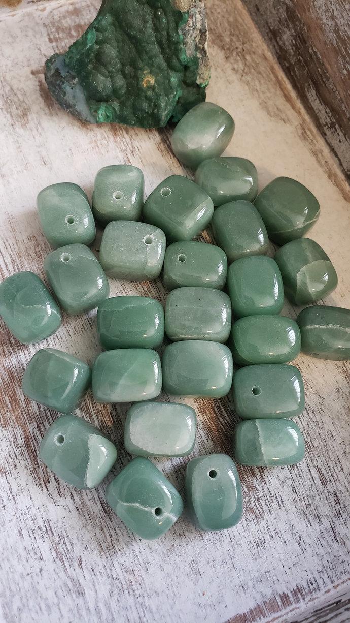 Green Aventurine Nugget Gemstone Beads, 20x15x15mm, 5 random gemstones