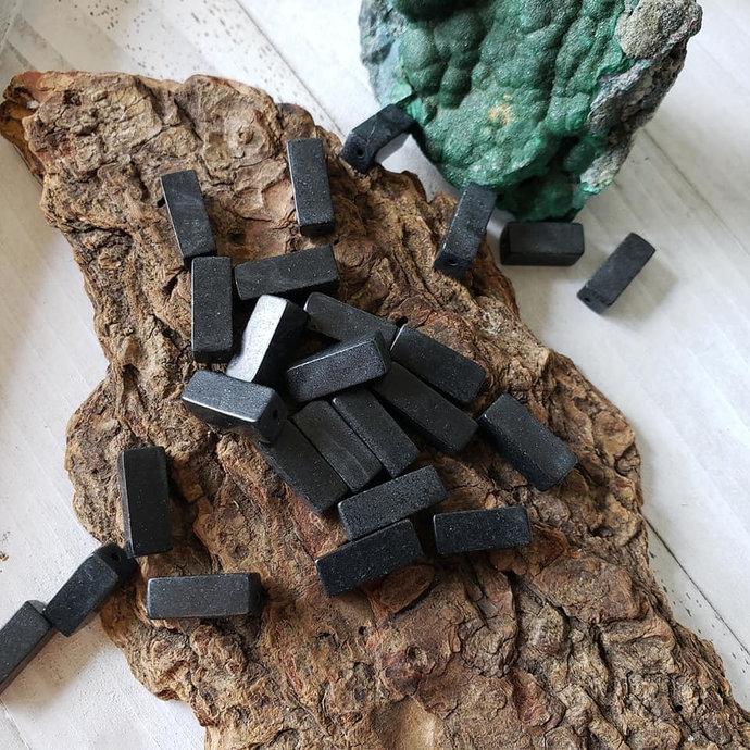 Black Stone Rectangular Gemstone Beads, 13x7mm, 20 beads
