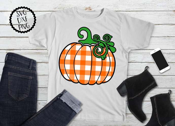 Buffalo Plaid Pumpkin svg, Gingham Pumpkin Clip Art, Halloween, svg, dxf, png,