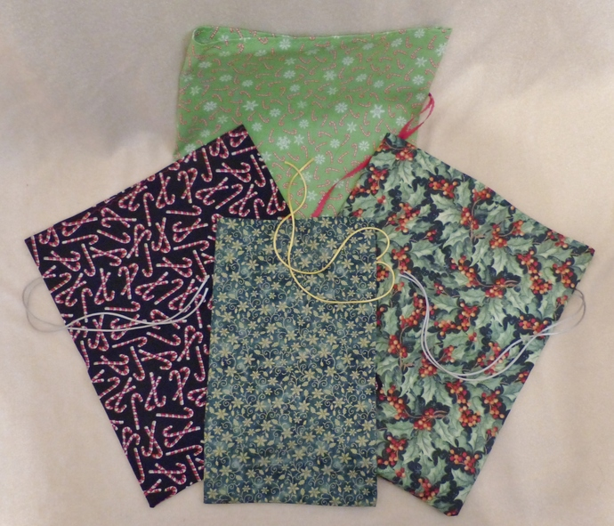Fabric gift bags, Set of four bags, Holiday fabric, Holiday gift bags, Party