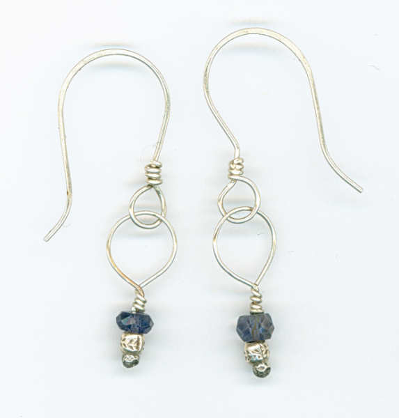 Iolite and silver earrings