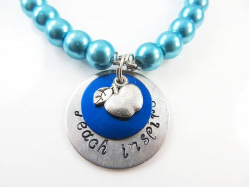 Clearance - -Hand stamped blue teacher bracelet  (med)