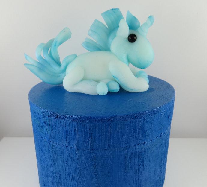 Large clay unicorn jewelry box