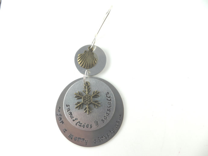 Clearance - Hand stamped snowflakes and sea shells Christmas ornament